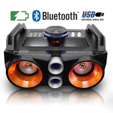 More details for portable stereo boombox speaker with mega bass usb mp3 player led festival music