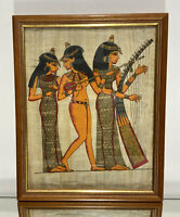 EGYPTIAN Hand Painted PAPYRUS Female Musicians Framed