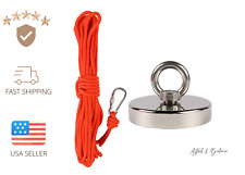 ��Up To 1000 Lb Fishing Magnet Strong Neodymium Pull Force W/ Rope & Carabiner��