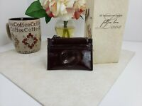 Brighton Dark Red Patent Leather Slim Small Coin Wallet Shiny Heart Window