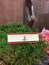 L Vintage Nautical Strip Anchor Bar Pin Red Enamel Gold Tone