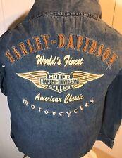 Genuine Harley Davidson Denim Jacket Snap Button  Mens L Detailed Logo On Back