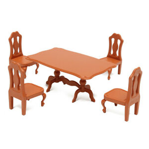 DIY Miniature Furniture Dollhouse Plastic Tables and Chairs Set Toy Activity Tod
