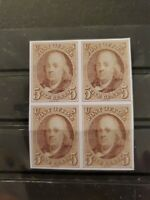 SC# 1 US 1847 Franklin 5C Stamp Reproduction Place Holders Block of 4