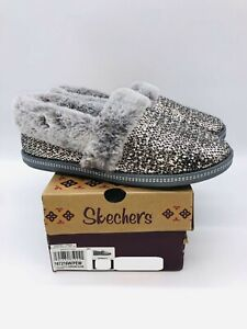 Skechers Women Cozy Campfire Dream Glam Plush Faux-Fur Metallic Slippers Pewter