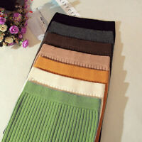 Women Skirts Autumn Winter Warm Knitted Straight Ribbed Ribbed Mid-Long Skirt