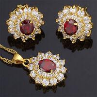 Brass Set Garnet Red Ruby Flower Oval Cut Necklace Pendant Earrings(Y)