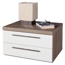 Comodino due cassetti rovere tartufo e laccato bianco CT4652 L60h37p45