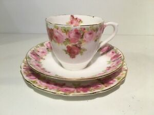 Royal Doulton Bone China Pink Raby Roses Cup Saucer & Plate E4882 Dated1924