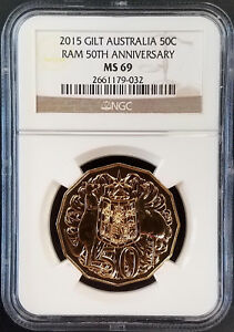 2015 Gilt Australia 50 Cents, Royal Australian Mint 50th Anniversary! NGC MS 69!
