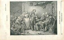 L'Accordée de village fiançailles tableau de Jean-Baptiste Greuze  GRAVURE 1839