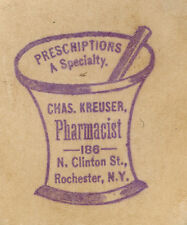 ROCHESTER, NY DIE CUT TRADE CARD,J KREUSER, PHARMACIST at 186 N CLINTON St  K739