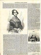 Portrait de Madame Pleyel Salle Herz Virtuose du Piano Paris GRAVURE 1848