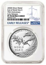 2020 Ngc Pf70 Ultra Cameo V75 End of World War Ii 75th Ann. Silver Medal.