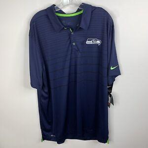 NWT Nike NFL On Field Apparel Dri Fit Mens XXL Blue Seattle Seahawks Polo