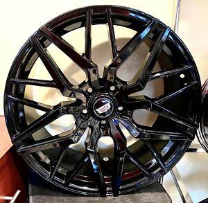 """4 Cadillac """"STACKED"""" GLOSS BLACK 20"""" X 8.5"""" CT6 XTS XT4 CTS CT5 5x120"""