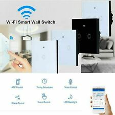 WiFi 1/2/3 Gang Wall Touch Smart Light Switch For Alexa Google No Neutral Wire