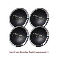 Set 4 Coppette Ruota Fiat 500 coprimozzo bordo cromato Borchia Cerchi Lega