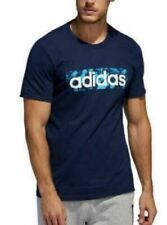 Mens Adidas  Blue- Graphic T Shirt  Short  Sleeve  Size LARGE Knit   NEW