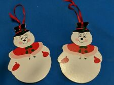 LOT of 2 Vintage Wooden Snowman Christmas Tree Holiday Ornament Decor