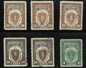 USA COMMONWEALTH OF MASSACHUSETTS STOCK TRANSFER STAMPS LOT OF 6 STAMPS