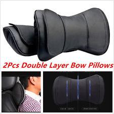 2Pcs Black Leather Auto Car Truck Neck Rest Headrest Pillow Cushion Mat New