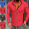 Mens Striped Slim Fit Muscle Tee Shirts Long Sleeve Full Zip Casual Tops T-Shirt