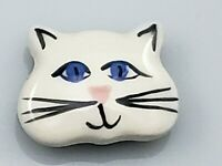Vintage Ceramic White Cat Kitty Button Cover Gold Brass Metal Back Cover Unique