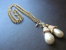 Vintage SARAH COVENTRY GLASS BAROQUE PEARL TASSEL CHAIN NECKLACE Gold Double