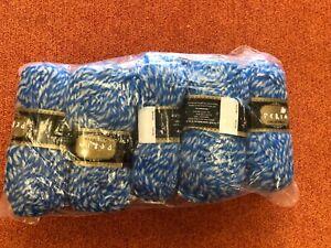 Yarn Knitting Crochet Acrylic 5x100g Balls Peria Lux Med Chunky Blue Yarn