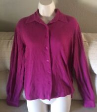 BLAIR Womans Size S-M-L Long Sleeve  Crinkle Shirt Blouse w/Stretch NEW