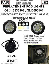 CLEAR LED REPLACEMENT FOG LIGHTS FOR 2014 15 16 GMC Sierra 1500 2500HD 3500HD