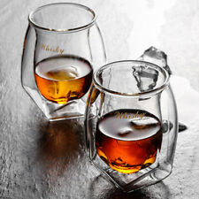 Hand Blown Double Walled Whiskey Glasses Set of 2 With luxury Gift Box Home Bar