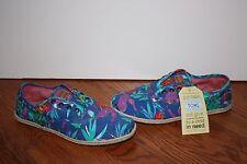 NEW Womens TOMS Cordones Blue Birds of Paradise Multi-Color Shoes Size 10