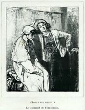 Gavarni: Masques et Visages.71.L'école des Pierrots.3.Pulcinella.Caricatura.1857