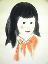 Newberry PORTRAIT of a LITLE GIRL w DARK HAIR 1940 vINTAGE Print Matted