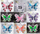 Lots 20/50pcs Silver Plated Enamel Rhinestone Crystal Butterfly Charms Pendant