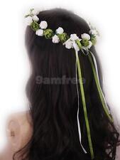 Flower Girl Bridesmaid Headdress Floral Garland Headpiece Halo Circlet Wreath