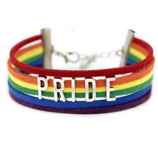 Gay Pride LGBT Rainbow Unisex Leather Bracelet Jewellery Lesbian Bisexual Trans