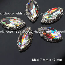 5 Pcs Alloy Jewelry 3D DIY AB Rhinestone Nail Art Glitters Slices #EH-210