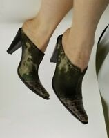 Womens Donald J Pliner Green Pony Hair Mule Slide US 8.5 Made Italy Animal Print
