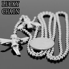 "STAINLESS STEEL SILVER LITTLE ANGEL ROSARY CHAIN NECKLACE 31""+4.5"" 3mm26gE877"