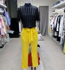 Italy ROBERTA BIAGI Summer Yellow Bow Elegant Casual Smart Pants Trousers M