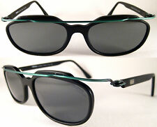 Vintage MOMO DESIGN Sonnenbrille MS 6005* Federleicht Schwarz/Grün,Metall/Acetat