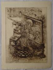 "ORIGINAL ETCHING BY JAPANESE ARTIST FUJI (FUGI) NAKAMIZO ""ORIENTAL ARTIFACTS"""