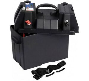 Battery Power Box Carrier Watertight.10A.Battery Charge LED Gauge. Boat Caravan