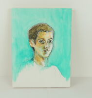 """Young Man Boy Watercolor Painting Unsigned Aqua Moody Depressed Serious 12 x 16"""""""