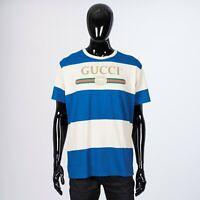 GUCCI 690$ Striped Cotton & Hemp Logo Tshirt In Blue & White