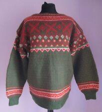 Vintage Femmes norsecoat Vert Multi 100% laine Nordic Jumper taille EXTRA LARGE (23)