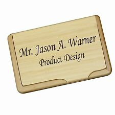 Personalized Wood Bamboo Business Card Holder - Custom Office Gift for Men/Women